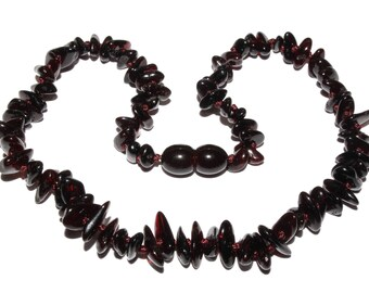 Genuine Baltic Amber Baby Teething Necklace Black Chips Style