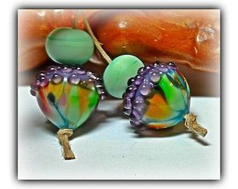 Tye Dye Acorns **Handmade Lampwork Beads**