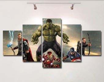 Avengers Hulk Iron Man Thor Captain America poster canvas wall art print painting wall hanging home decor High Quality 5 piece set Gift kids