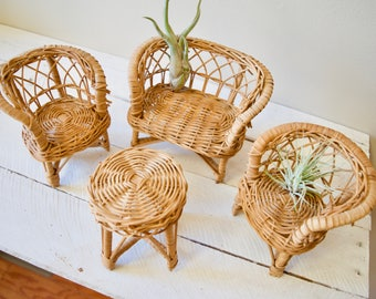 Set of Four Vintage Wicker Furniture || Toy Doll Furniture for Children