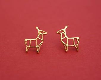 Origami reindeer gold plated stud earrings, reindeer earrings, secret santa gift, stocking filler