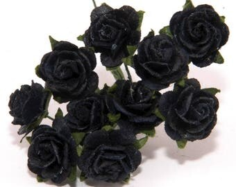 Black Open Mulberry Paper Roses Or118