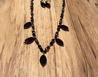 Purple Beaded Necklace and Matching Earrings