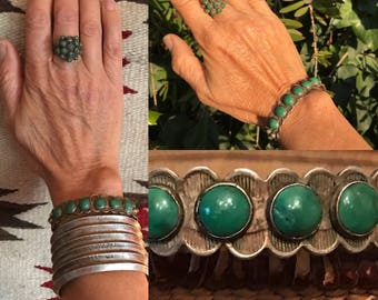 Native American Jewelry, Fred Harvey Bracelet, Sterling, Coin Silver, Green Turquoise, Vintage Cuff Bracelet, Old Pawn, Southwestern Jewelry