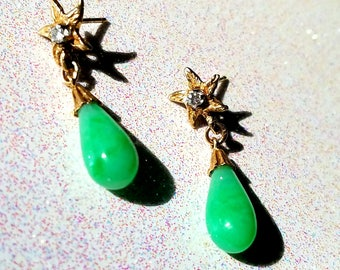 Jade and Diamond Earrings, Apple Green Jadeite, Jadeite Earrings in 14 kt Gold Dangles