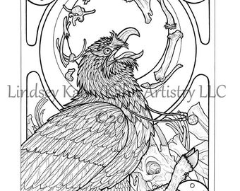 Coloring Page Download from Coloring Book for Adults - Seven Deadly Sins - Gluttony Bearded Vulture Lammergeier