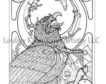gluttony coloring pages | Bearded vulture | Etsy