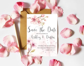 Printable Save the Date Template, Wedding Save the Date Cards, Watercolor Floral Save the Date Printable, Rustic Save the Date Template