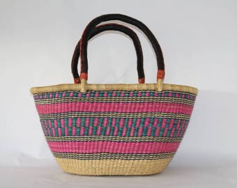 Natural Pink Woven Large Basket Bag