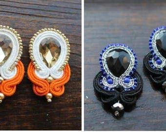 Jewelry soutache,soutache earrings studs handmade earrings white and orange,blue and black