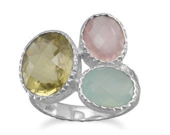 Quartz and Chalcedony Ring, Multistone Ring