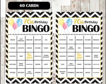 70th Birthday Party Bingo Game