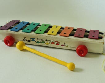 Fisher Price #870 Pull-A-Tune Xylophone, 1978-1986, Vintage FP Toy, Musical instrument