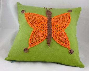 Crochet pillow, home decor pillow, art pillow, crochet butterfly pillow