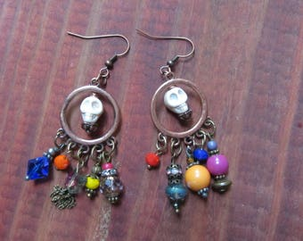 Antiqued Bronze Metal Dangling Earrings with a Variety of Embellishments and Skulls