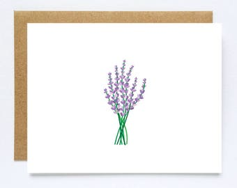 Lavender Card, Any Occasion Cards, Birthday Cards, Christmas Cards Handmade, Thank You Cards, Illustrated Cards, Sympathy Cards