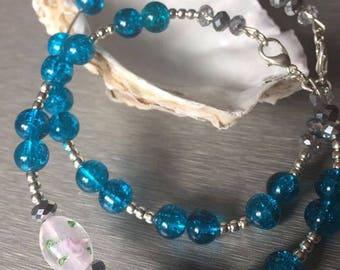 Double Teal Glass Flower Bead Bracelet