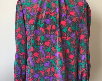 Vintage pink, purple and green blouse