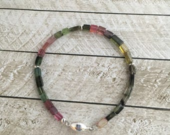 Tourmaline and Sterling Silver Bracelet - Free U.S. Shipping