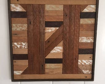 Custom Monogram Reclaimed lath wood wall art
