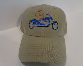 Embroidered Hat with Motorcycle design