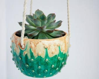Modern hanging planter - Decor wall planter - Wall Succulent Planter - Ceramic hanging planter - Wall planter indoor