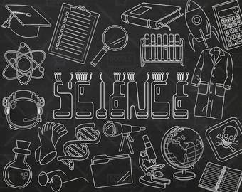 Chalkboard Science Vector Pack, Science Doodles, Mad Scientist Clipart, Experiment Clipart, Science Graphics, Science Stickers, SVG,PNG file
