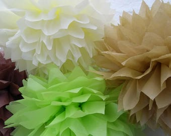 Pack of 10 pom poms /woodland wedding decorations / party decorations / birthdays / home decorations / marquee decorations / rustic wedding