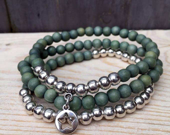 Free Shipping within NL bracelet set of 3 bracelets bangle wooden Beads