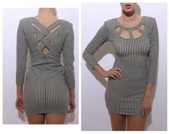 vintage 1980's 80's caged houndstooth mini dress long sleeve cutout stretchy crisscross black and white XS-S