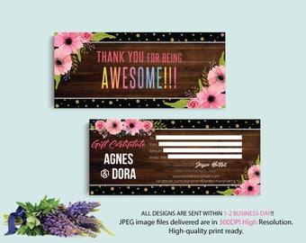 Custom Gift Card, Agnes Dora Gift Certificate, Gift Certificate Agnes and Dora, Digital Agnes and Dora, Printable File AG08