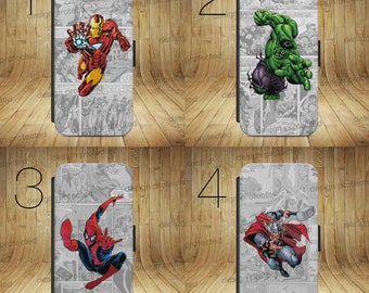 DC Marvel superhero comic Wallet Flip phone Case Cover For All iPhone & Samsung models