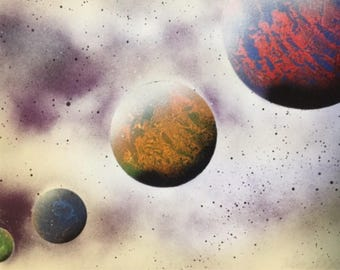 Colourful Planets Galaxy Space Spray Painting
