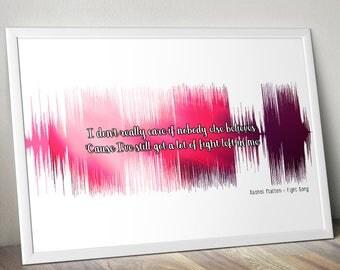 Rachel Platten Fight Song Soundwave Poster Gift Audiophile