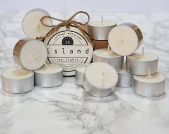 coconut macaroon scented soy tea lights