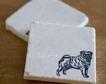 Pug Gift/ Pug Coasters/ Pug Decor/ Pug Love/ Marble Coasters/ Marble Coaster/ Stone Coasters/ Coaster Set/ Dog Coaster/ Dog Gift/ lace grace
