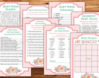 Floral baby shower games package, eight printable games, Baby shower games pack, Floral baby shower games,Instant Download, Floral bingo