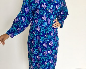 Asian style silk dress in a bright blue floral pattern