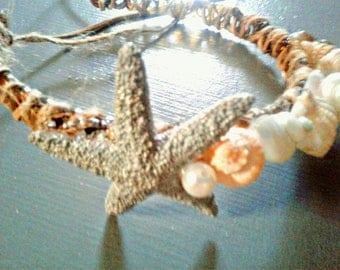 Seashell and Starfish Headband with Hemp and Pink Pearls Mermaid Hair Accessories Flower Girl