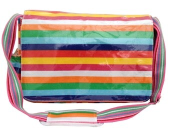 Izzy Rose Boutique Oil Cloth Wipeable Nappy Baby Changing Diaper Bag in Rainbow Stripe. Padded Changing Mat Bottle Holder ShabbyChic