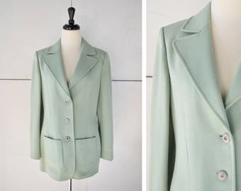 70s (M/L) mint green blazer | vintage womens jacket | 1970s womens clothing