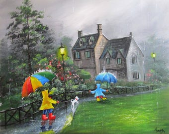 My art Oil Painting 100%Hand-painted  Knife decoration  Abstract canvas children Landscape