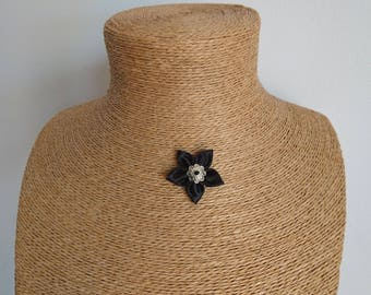 Black satin fabric Flower necklace