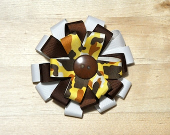 "3.5"" Yellow & Brown Camouflage Round Bow"