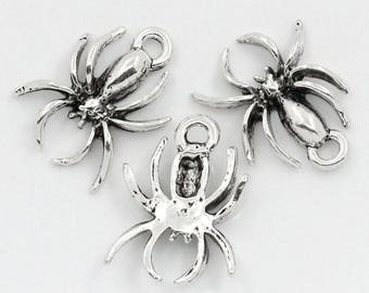 Set of 2 colored spider charms silver