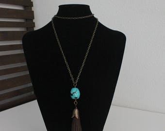 Brown Leather Tassel Necklace with Turquoise Bead on Brass Chain