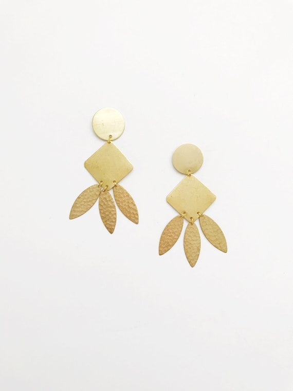 Brass Leaf Drop Earrings