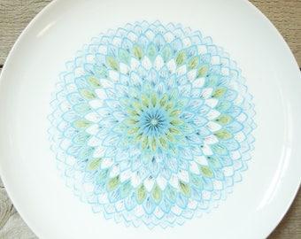 "Noritake Young America Bahama Mid-Century 10 3/8"" Dinner Plate, Large Blue Aqua Turquoise Avocado Green Flower Geometric Pattern, Vintage"