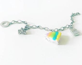Sterling Silver Rainbow Cake Bracelet