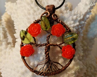 Tree of Life Blooming Red Roses Copper Wire Wrapped Necklace Pendant
